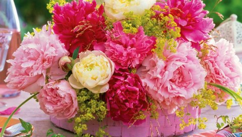 Пионы, цветок, корзина, стол, сервировка
