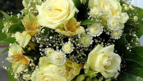 Розы, лилии, цветы, букет, бусы, дизайн, капля