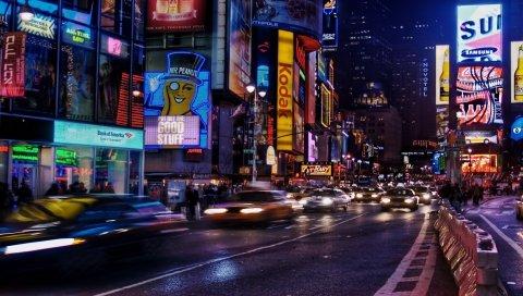 Нью-Йорк, живость, движение, улица, ночь