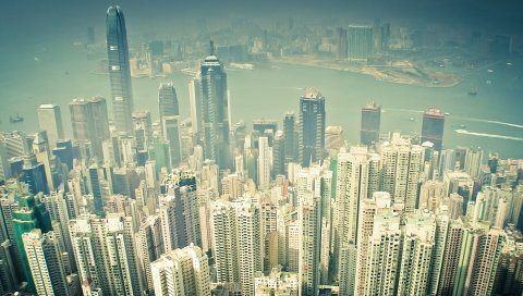 Город, мегаполис, вид сверху, небоскребы
