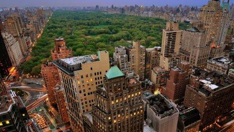 Нью-Йорк, Манхэттен, небоскребы, центральный парк