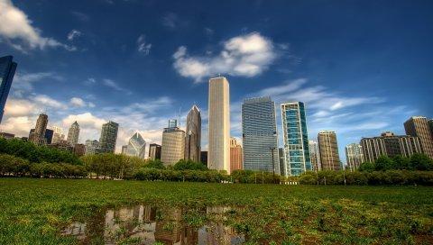 Нью-Йорк, Манхэттен, небоскребы, центральный парк, трава, hdr