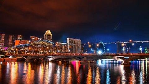 Мост, здание, ночь, заливка цветов, отражение