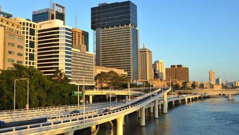 Город, мегаполис, мост, здания, небоскребы