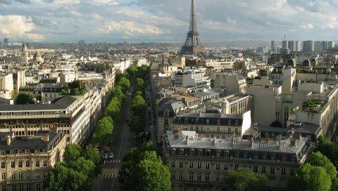 Эйфелева башня, Париж, Франция, пейзаж, городской пейзаж, архитектура