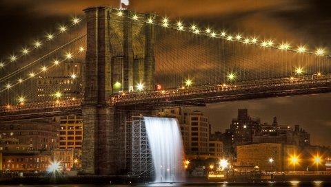 Бруклинский мост, США, Нью-Йорк, горизонт, река, hdr