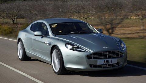 Aston martin, rapide, 2009, серебро, вид спереди, автомобили, горы