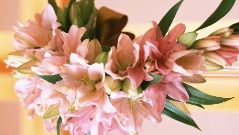 Лилии, цветы, букеты, композиции, листья, дизайн