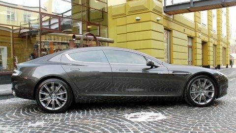Aston martin, rapide, 2011, серый, вид сбоку, здание