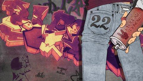Отбеливатель, граффити, кубо тита, kurosaki ichigo, стена, джинсы, спрей