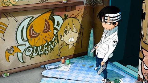 Парень, оружие, стена, граффити
