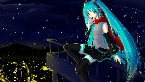 Hatsune miku, вокалоид, ночь, город, девушка, микрофон, шарф, снег, огни, поручни