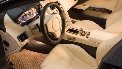 Aston martin, rapide, 2006, концепт-кар, бежевый, салон, салон, руль, спидометр