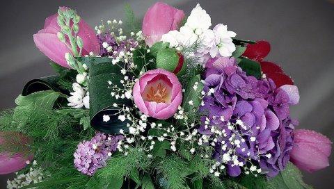 Тюльпаны, гортензия, сирень, пион, гипсофила, цветок, весна