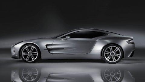Aston martin, one-77, 2008, концепт-кар, серый, вид сбоку, отражение