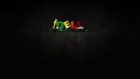 Dell, компания, компьютеры, лягушка, зеленый, желтый, красный