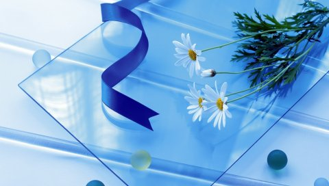 Ромашка, цветы, стекло, бусы, лента