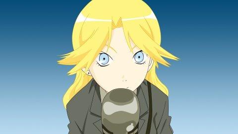 Kimura kaere, девушка, блондинка, микрофон, фон