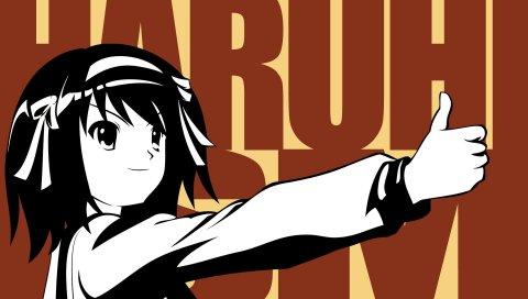 Suzumiya haruhi, девушка, слово, жест, улыбка