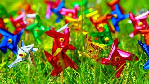 Ветер, трава, красочный