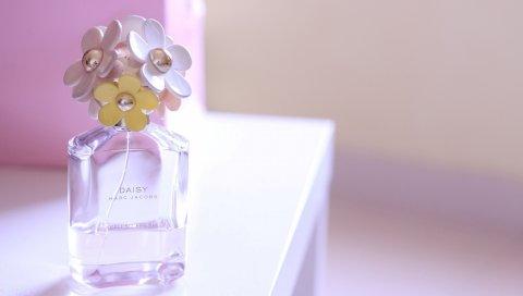 Парфюм, цветы, бутылка, аромат