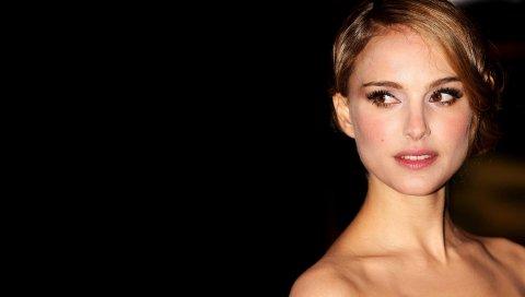 Natalie portman, брюнетка, лицо, волосы, макияж, взгляд