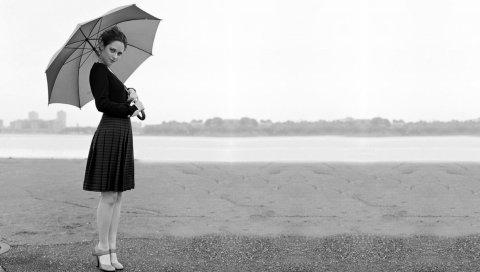 Zooey deschanel, платье, брюнетка, зонтик, черный белый