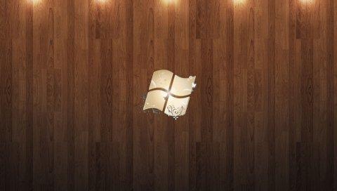 Окна, дерево, паркет, свет, логотип