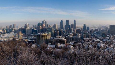 Зима, Монреаль, Канада, снег, деревья