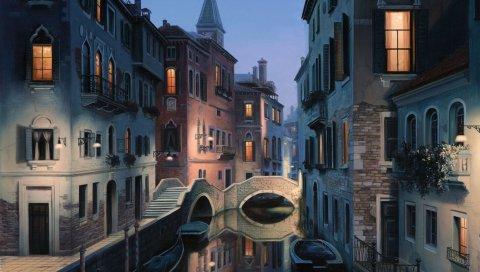 Город, здание, река, мост