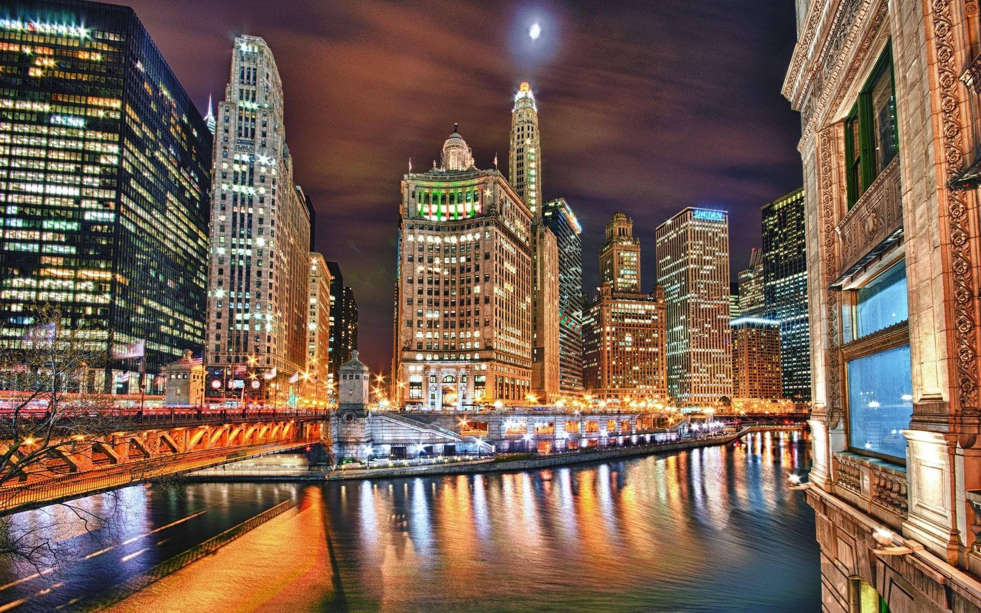Картинки Город, ночь, река, здание, небоскреб, hdr фото и обои на рабочий стол