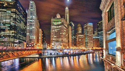 Город, ночь, река, здание, небоскреб, hdr