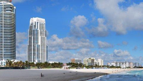 Майами, пляж, здание, песок