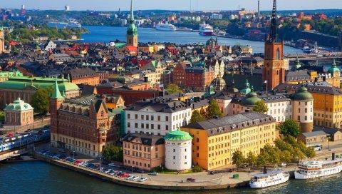 Стокгольм, река, здание, вид сверху