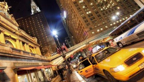 Нью-Йорк, движение, автомобили, улица, hdr