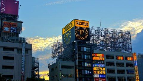 Япония, Токио, здания, вечер