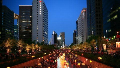 Корея, азия, сеул, южная корея, ночь, город, огни город