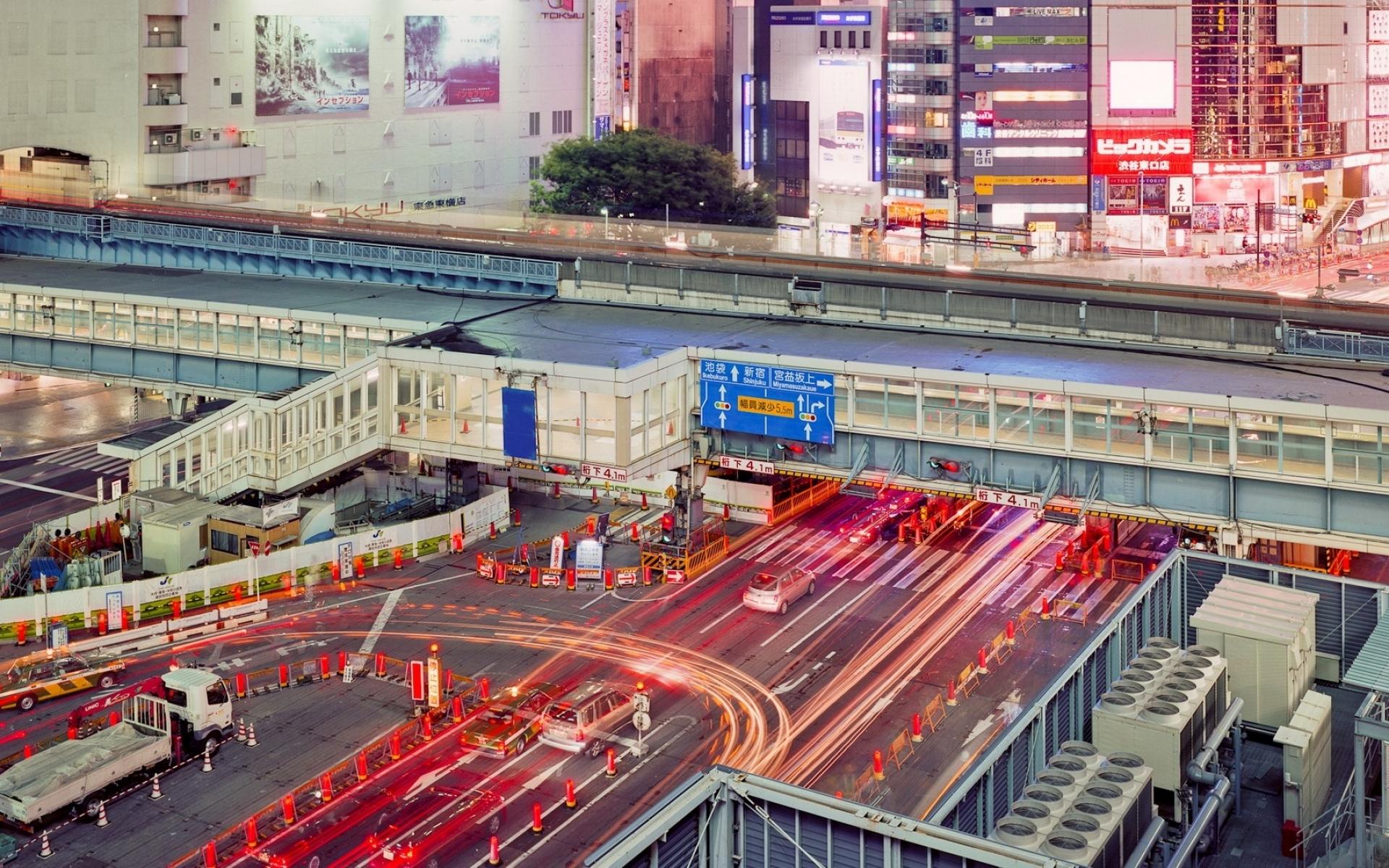 Картинки Япония, Токио, Мост, Город, дорога, движение фото и обои на рабочий стол