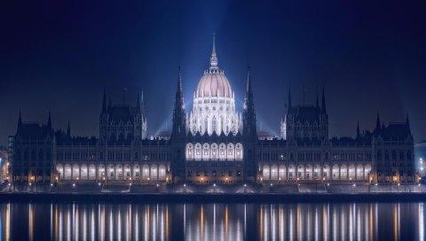 Будапешт, ночь, река, здание