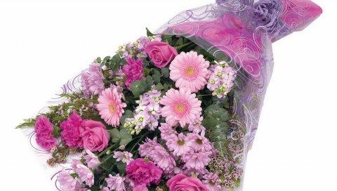 Розы, хризантемы, герберы, цветы, украшения