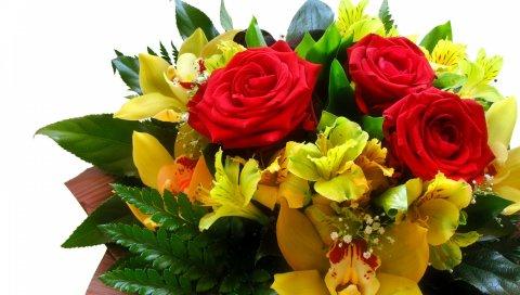 Розы, лилии, букеты, зелень, украшение