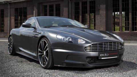Aston martin, dbs, 2010, серый металлик, вид спереди, автомобили, здание