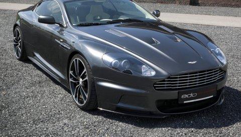 Aston martin, dbs, 2010, серый, вид спереди, авто, гравий