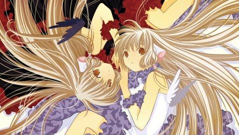 Chobits, девушка, светлые волосы, крылья, поза