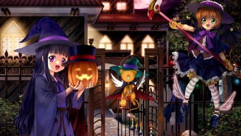 Карточная сакура, девушка, милая, ведьма, тыква, огни