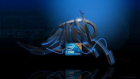 Процессор, логотип, синий, черный, линии, граффити