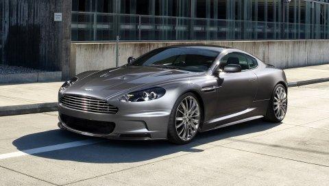 Aston martin, dbs, 2009, серый, вид сбоку, спорт, строительство