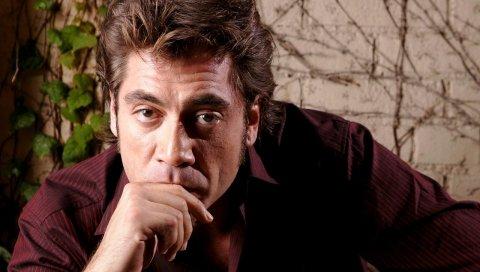 Javier bardem, мужчина, брюнетка, задумчивый