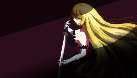 Bakemonogatari, девушка, блондинка, меч, тень