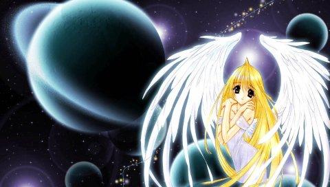Ангел пыль, девушка, блондин, крылья, планеты